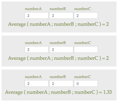 Three Average function examples with blank and non-blank fields.