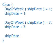 A Case function that checks for weekend dates and adds one or two days, changing them to Monday dates.