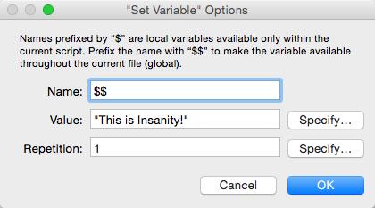 Set Variable dialog box.