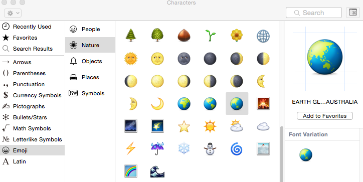 Emoji from the Character Viewer