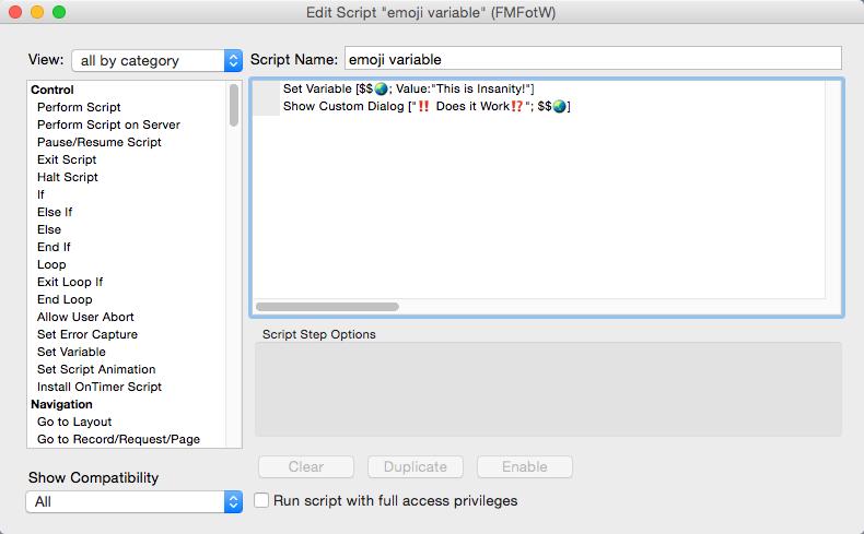 Emoji variable script